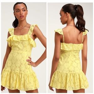 Lulus Biscay Yellow Ruffled Eyelet Lace Dress